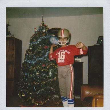 Sunjiv Tandon as a child in a 49ers jersey