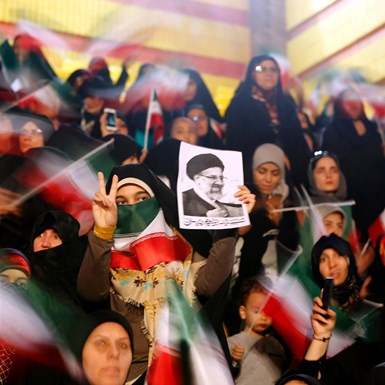 Supporters of Iranian presidential candidate Ebrahim Raisi