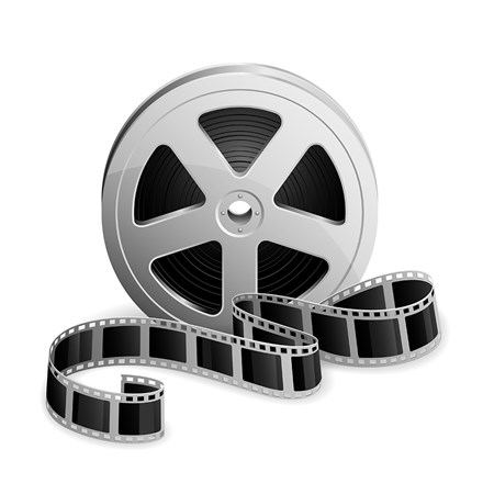 Film reel and twisted cinema tape isolated on white background, illustration shutterstock 195517598