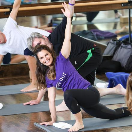 Maria Shriver at the BYOB yoga event