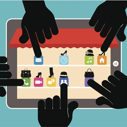 Fingers touching shopping apps on digital tablet