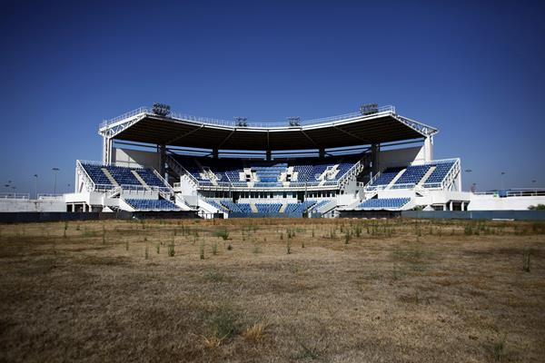 The abandoned Olympic softball stadium in Athens that was built for the 2004 Athens Olympic Games.